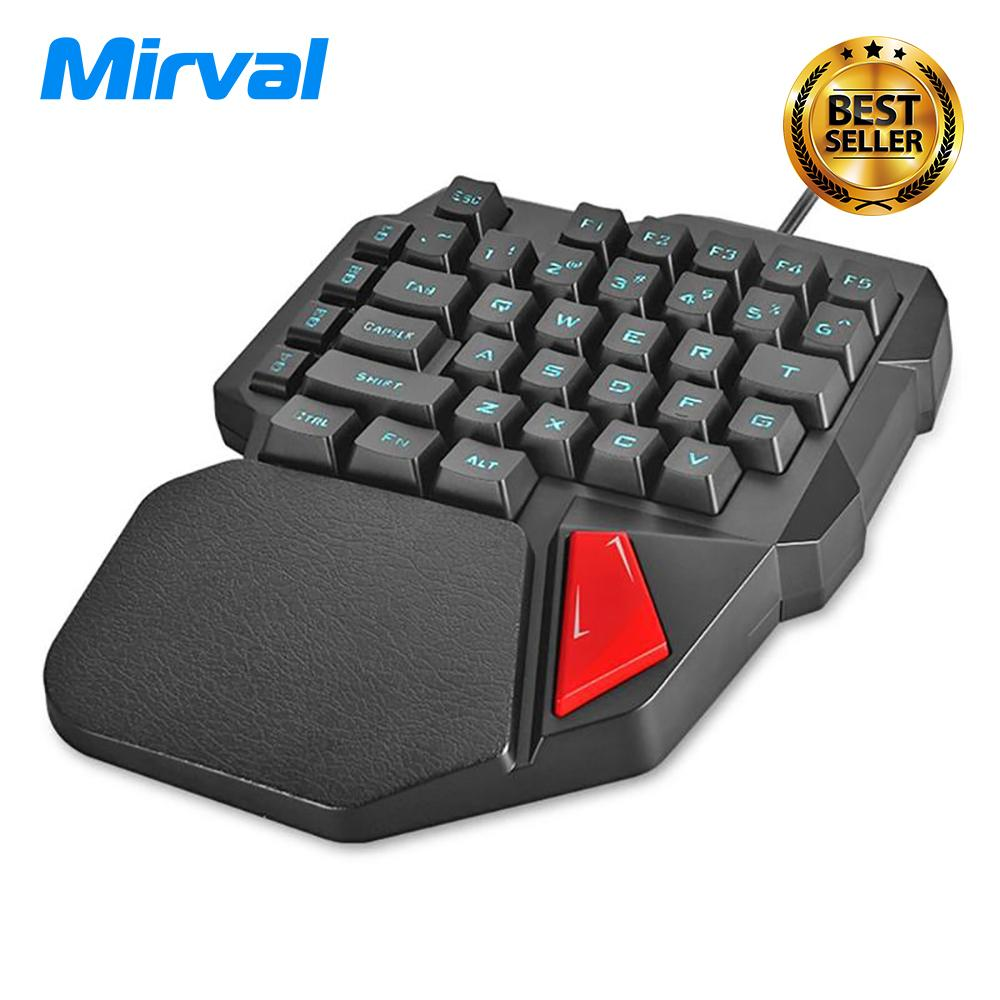 Mirval K108 Kabel 3 Warna LED Backlit 38 Tombol Gamer Keypad Ergonomis USB Diterangi Satu Tangan Game Keyboard untuk Pubg OW-Intl