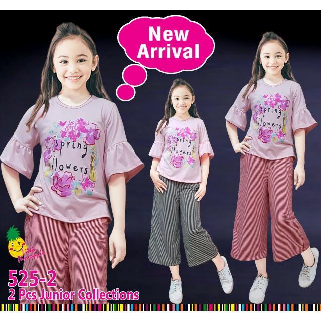 Dijual Thn Baju Setelan Anak Perempuan Kaos Spring Peach Kulot Garis Berkualitas
