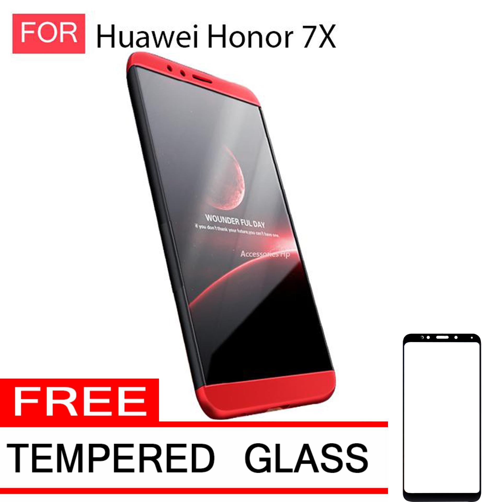 Accessories Hp CASE GKK Hardcase 360 Full Protective for Huawei Honor 7X Plus Free Tempered Glass Warna Black