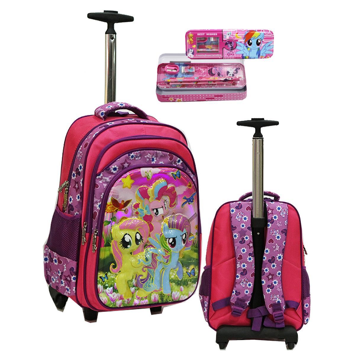 Onlan My Little Pony 6D Timbul Tas Trolley SD Gagang Stainless Dan Kotak Pensil Set Alat Tulis Import