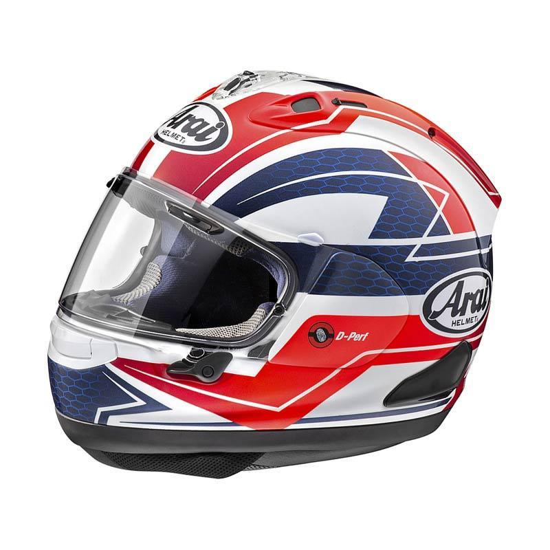 Arai RX7X Curve Red Helm Full Face - Grapic Red White Blue