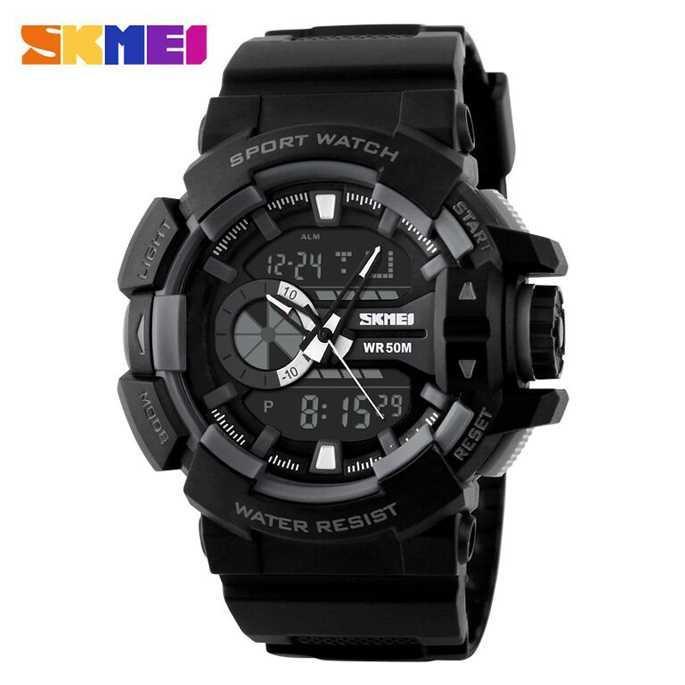 jam tangan pria digital analog sport original SKMEI 1117 Water resistance/ tahan air 50 atm