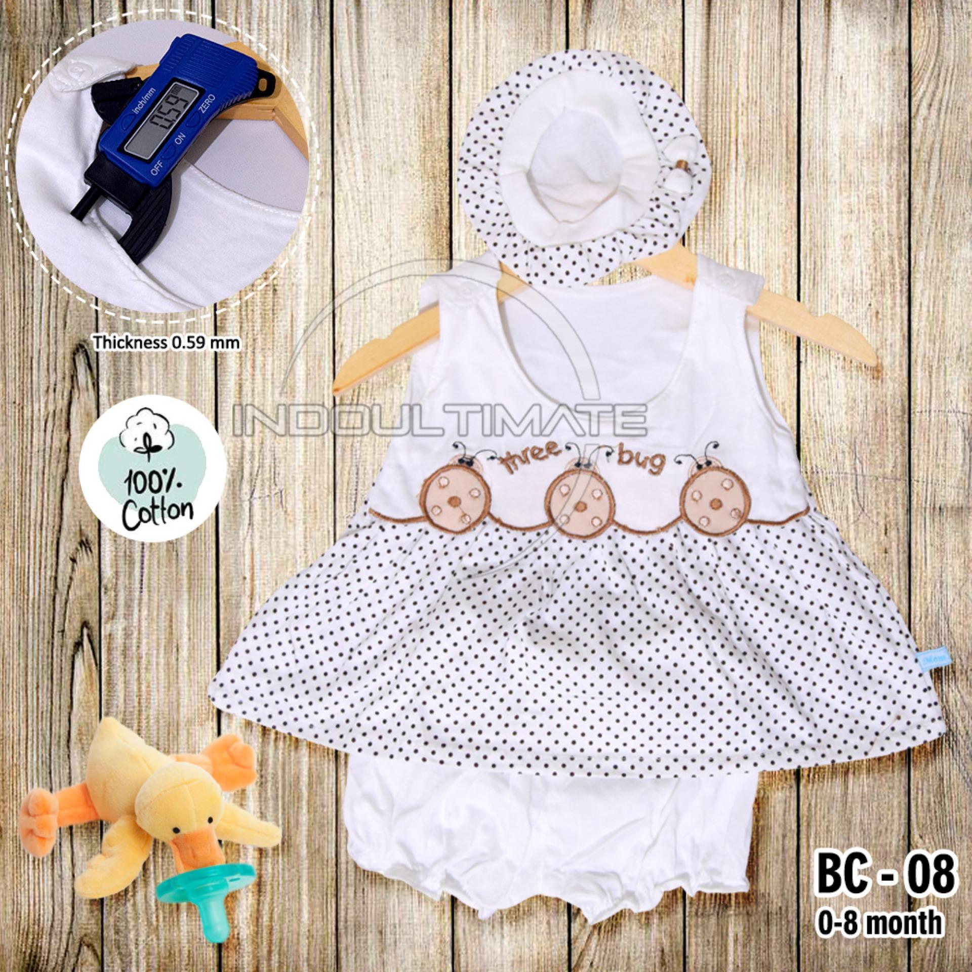 BABY LEON Setelan Baju Baby Cewek / Pakaian Baby Cewek / BY BC-08 BAJU BABY CEWEK SATU SET + TOPI (Random)