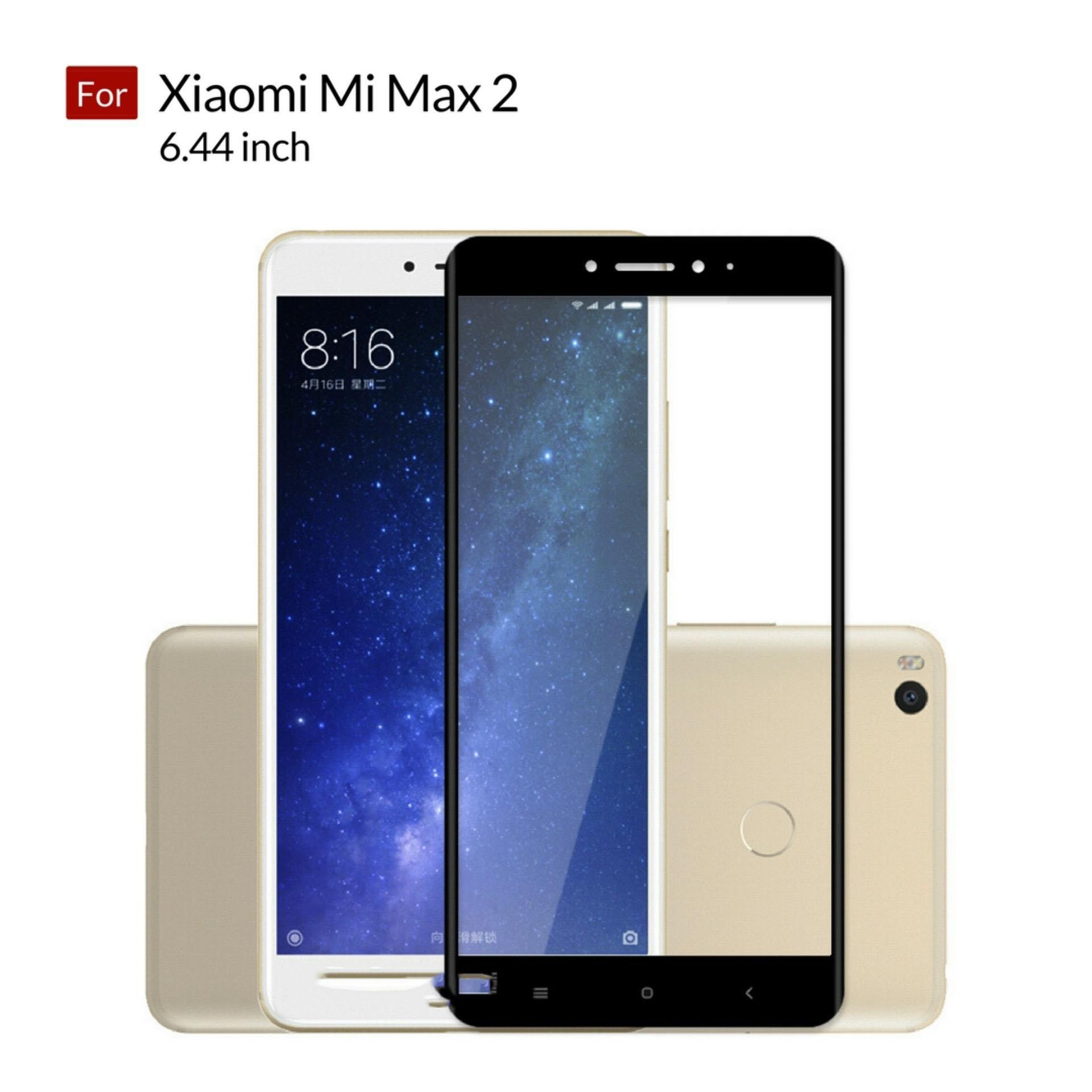Accessories Hp Full Cover Tempered Glass Warna Screen Protector for Xiaomi Mi Max 2 6.44 inch - Black
