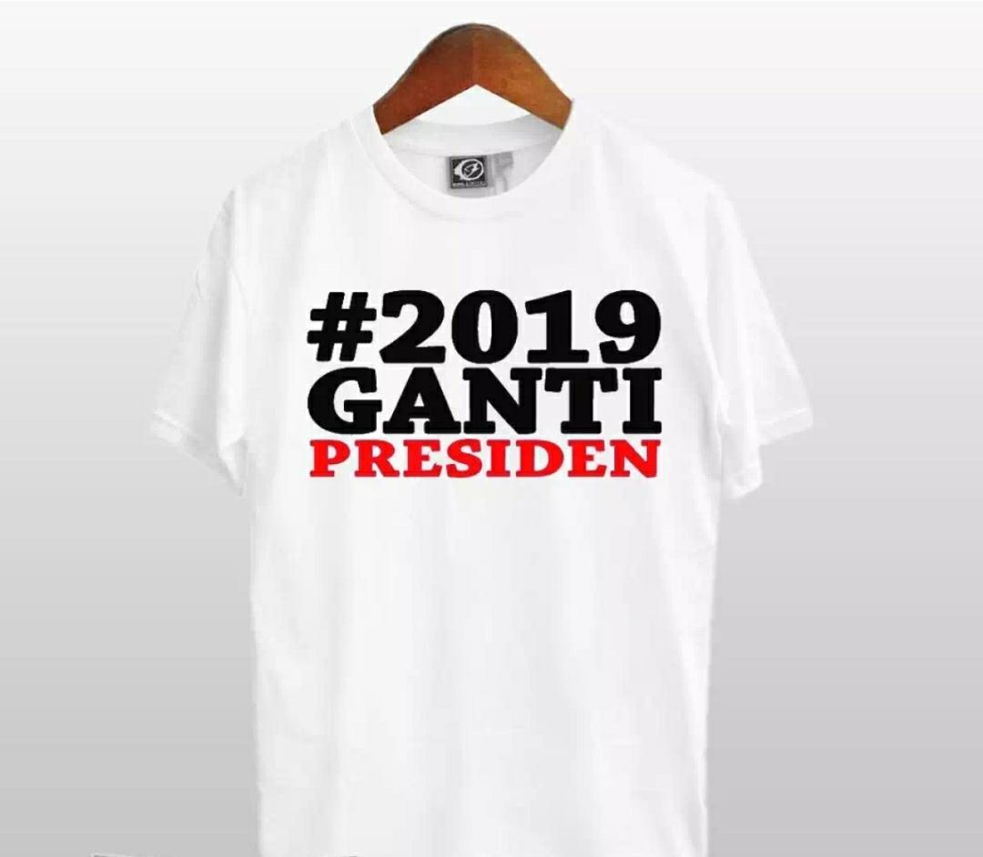 Zos T-Shirt Distro M L XL XXL T-Shirt Pria #2109 Ganti Presiden #2019gantipresiden Kaos Kerah Polo Baju Berkerah Kaos Cowo Atasan Kasual Kaos Distro Sport Topi Jaket Celana Sepatu Tni Bomber Pilot Loreng Armi Motif Tentara 2019 Ganti Presiden Kekinian