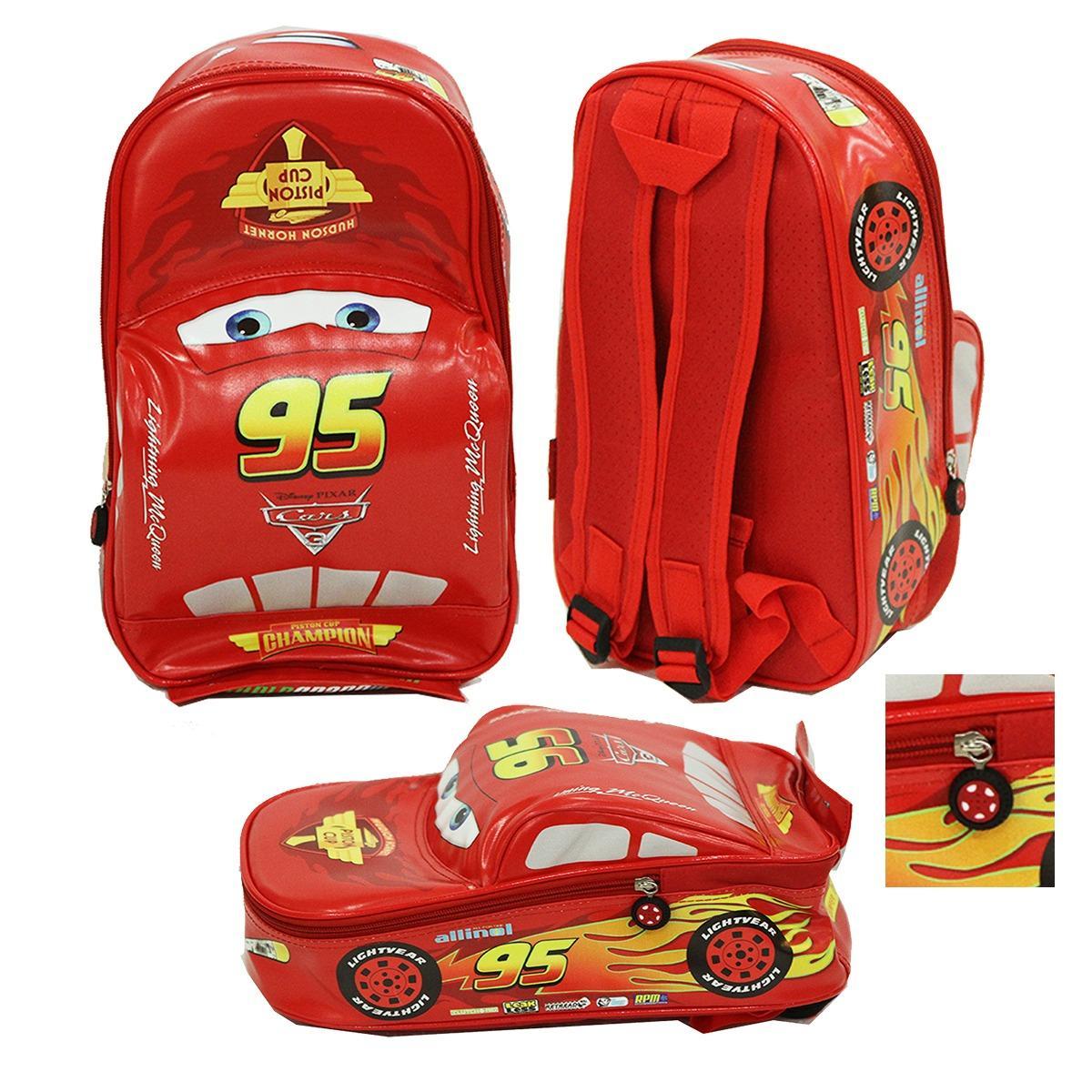 Onlan Cars McQueen Tas Ransel Anak Sekolah Play Group Bahan Sponge Tahan Air Bentuk Mobil Unik - Red