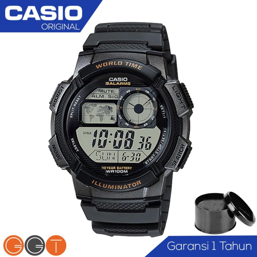 CASIO Illuminator AE-1000W-1AVDF - Jam Tangan Pria - Tali Karet - Digital Movement - Hitam