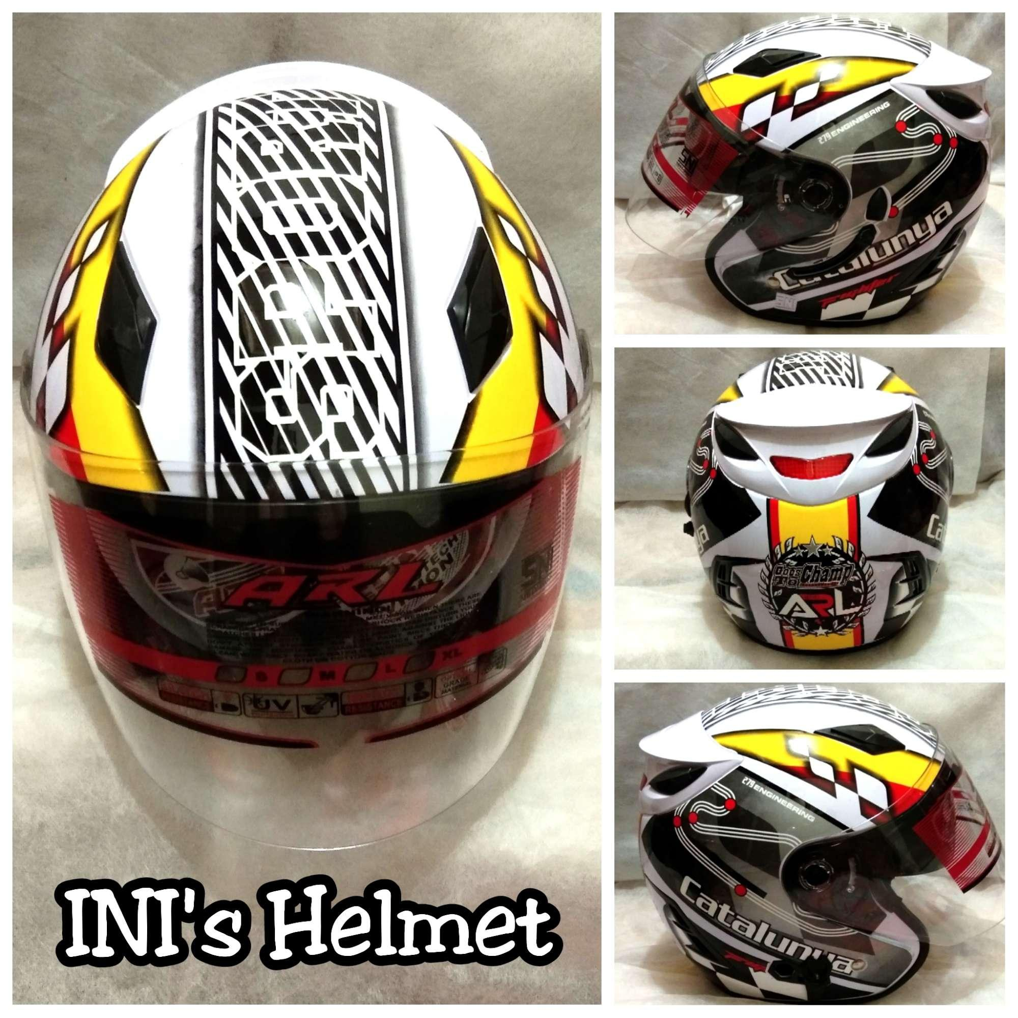 Helm Double Visor (2 Kaca) ARL Motif Putih Sport Catalunya - SNI - INI's Mart Jakarta