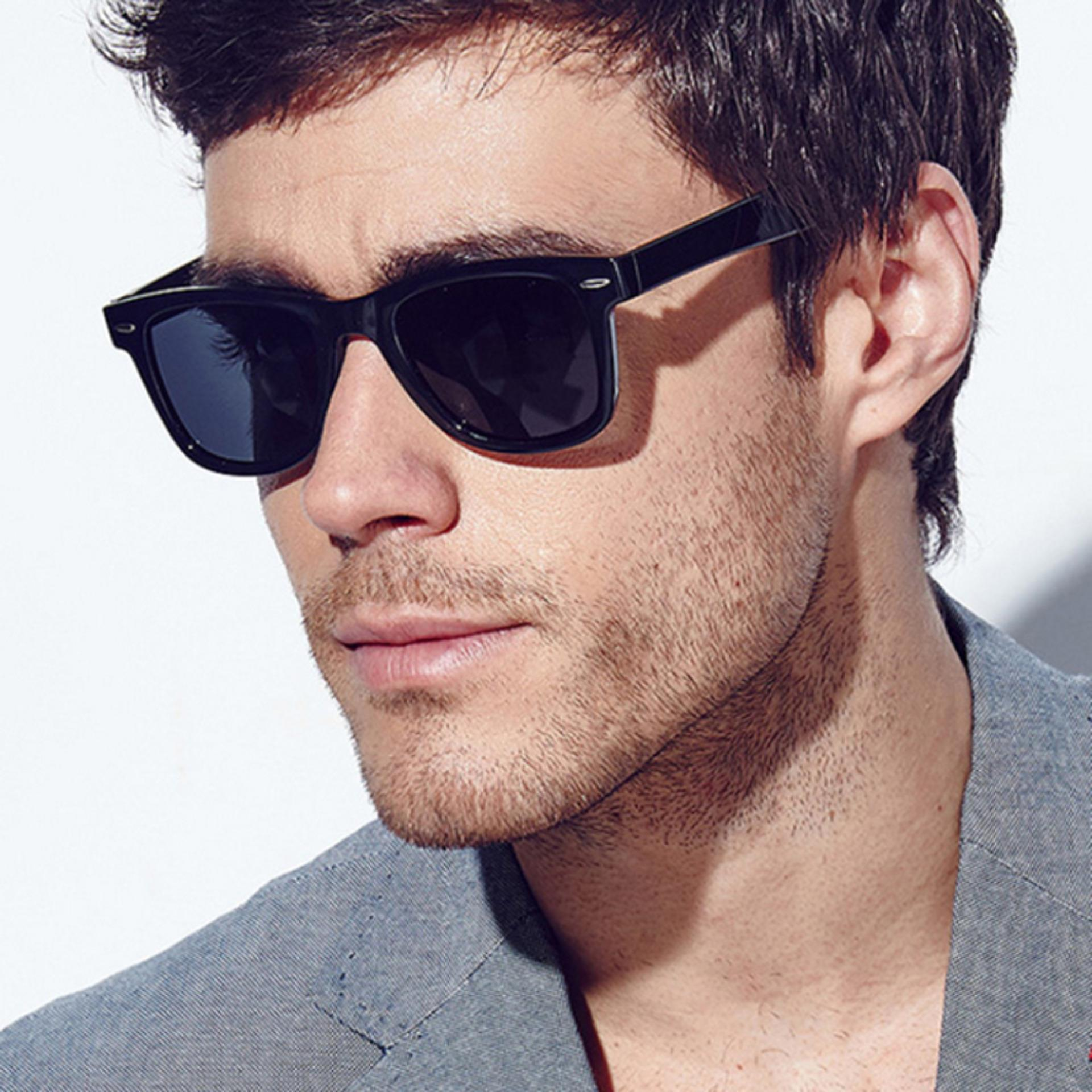 Retro Aviator Sunglasses Eyewear Mirrored Lens -Kacamata Pria - Hitam - Ras 0100 Blk By Timely Indonesia.