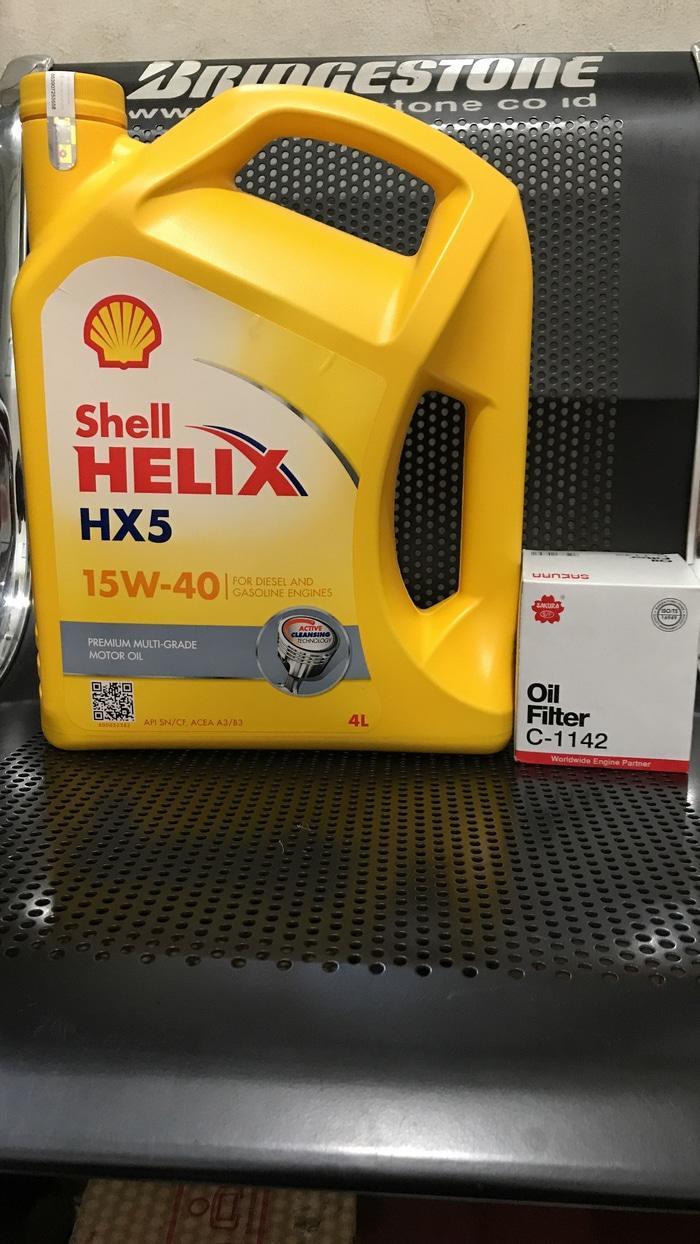 PAKET OLI SHELL HELIX HX5 15w40 Dan Filter Oil Oli Semua Jenis Mobil