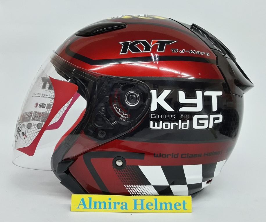 KYT DJ Maru Seri 11 Helm Half Face - Red Maroon Yellow