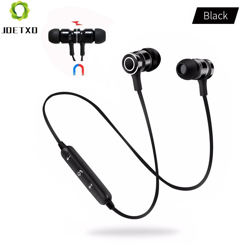 Magnetic Bluetooth 4.2 Earphone Nirkabel Headset Menjalankan Headphone Super Bass dengan MIC Sport Earbud untuk Smartphone-Hitam + Hitam -Intl