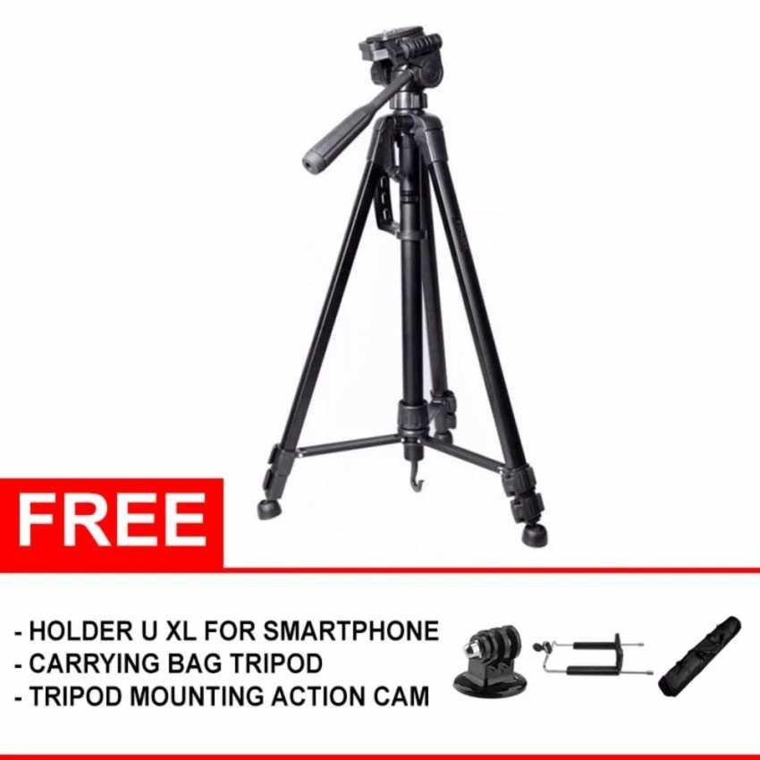 Tripod hp/Tripod kamera/Tripod handphone/Tripod velbon/Tripod kamera dslr/Tripod dslr/Tripod mini/Tripod gorilla/Tripod takara Somita Tripod WT-3520 - Hitam - (Free Aksesories)