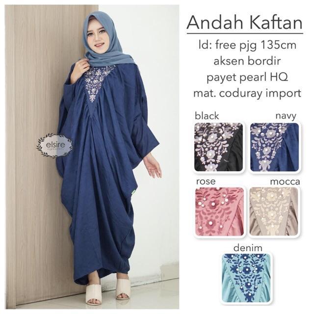 ANDAH KAFTAN Gamis Maxy Fashion Muslim Wanita Batik Panjang Jumbo Murah Yosheviens Elsire (BLACK)
