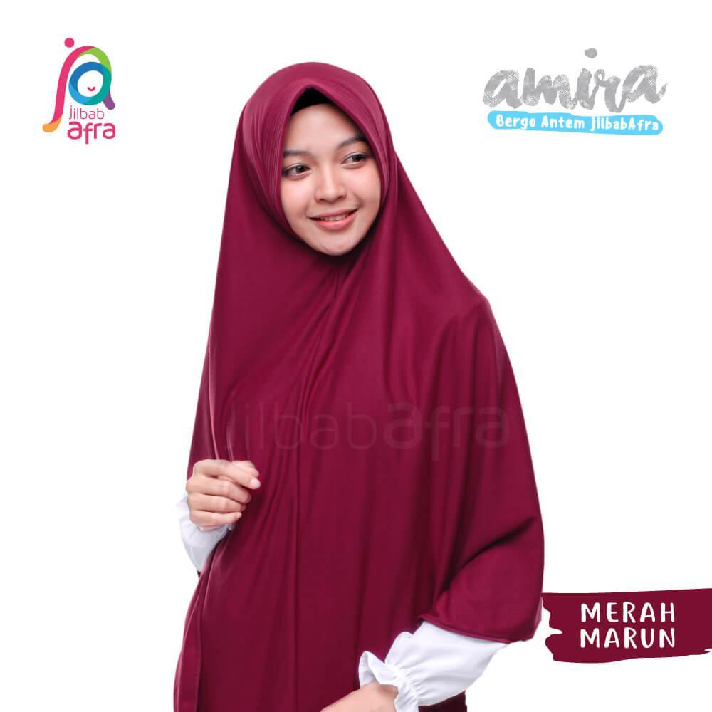 Jilbab Amira 12 Merah Marun - Bergo Pet Antem - Jilbab Afra - Hijab Instan Bahan Kaos, Adem & Lembut