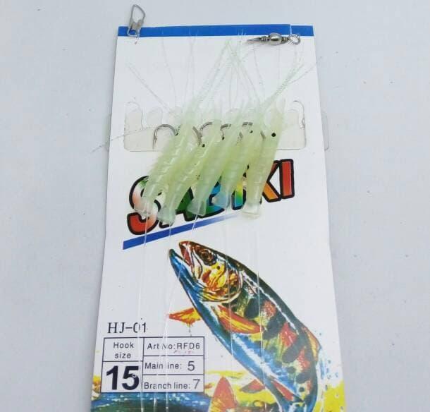 ASLI!!! SABIKI HJ-01 #15 GLOW-IN-DARK SHRIMP SABIKI RIGS 5X HOOKS - Gk0W3M