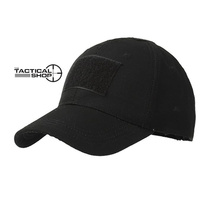 Topi Tactical Velcro Airsoft Cap Military Hat Black +Emblem