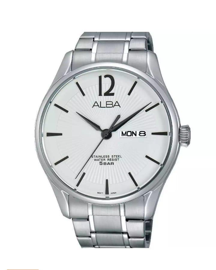 ALBA Jam Tangan Pria - Stainless Steel Strap - Quartz Movement - White Dial Patern - AV3295X1