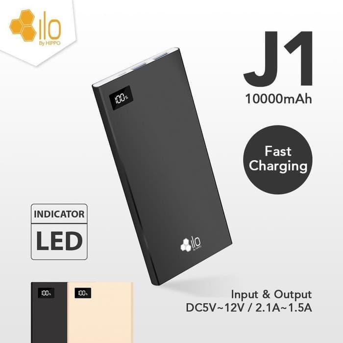 Best Seller Hippo Ilo Power Bank J1 10000 mAh Fast Charging - Black