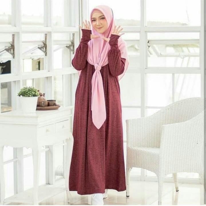 Gamis Roundhand Maxy Dress Spandek Baju Muslim Terbaru 2018 Baju Wanita  Gamis Casual Baju Terusan Panjang 5dd018cf8b