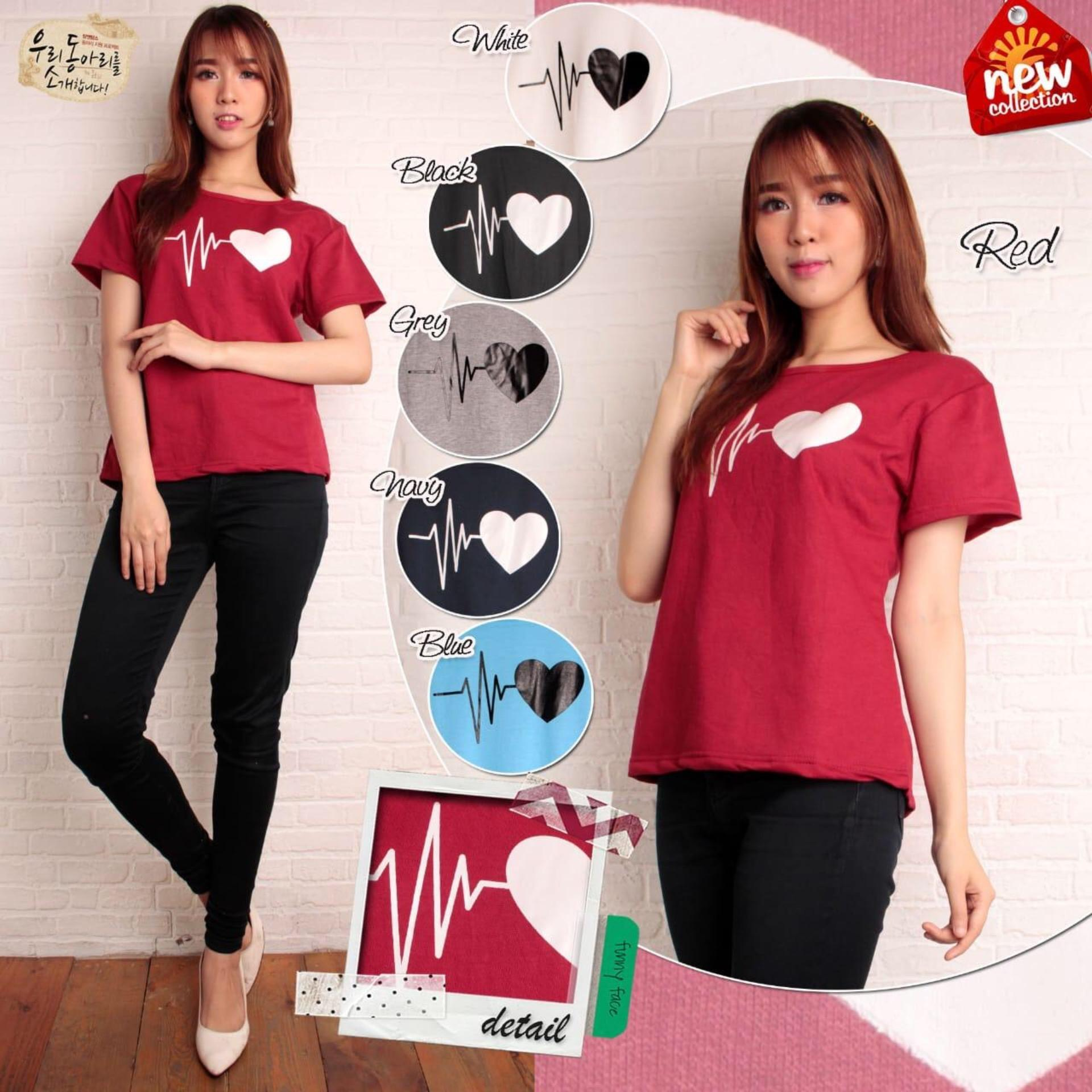 Shoppaholic Shop Blouse Atasan Basic Heart Beat
