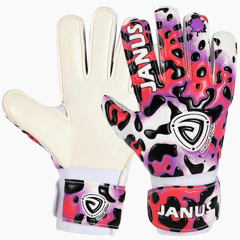 Sarung Tangan Kiper Anak Profesional Dengan Perlindungan Jari Menebal Lateks Leopard Print Sarung Tangan Kiper Sepak Bola - intl