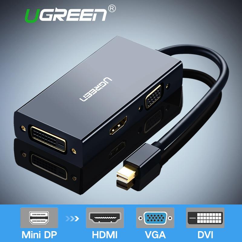 UGREEN Mini DisplayPort untuk HDMI DVI VGA Adapter 4K Mini DP Converter Thunderbolt kompatibel 3 dalam 1 untuk Mac, udara MacBook Pro, iMac, permukaan Pro3 Pro4 Google Chromebook, PC, proyektor Hitam
