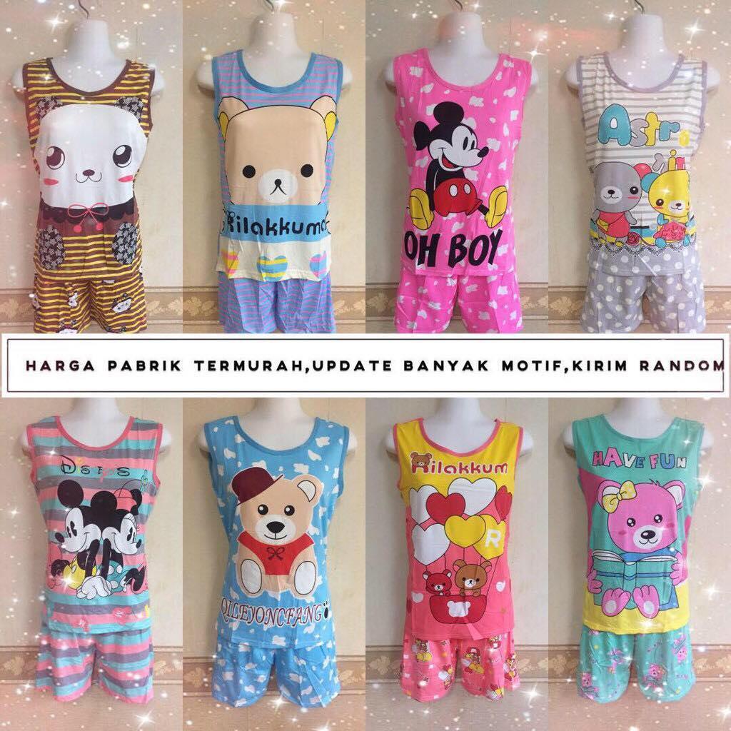 Grosir Baju Tidur Spandex Korea Stelan Dewasa Hot pant Wanita/Baby doll/Piyama/Murah