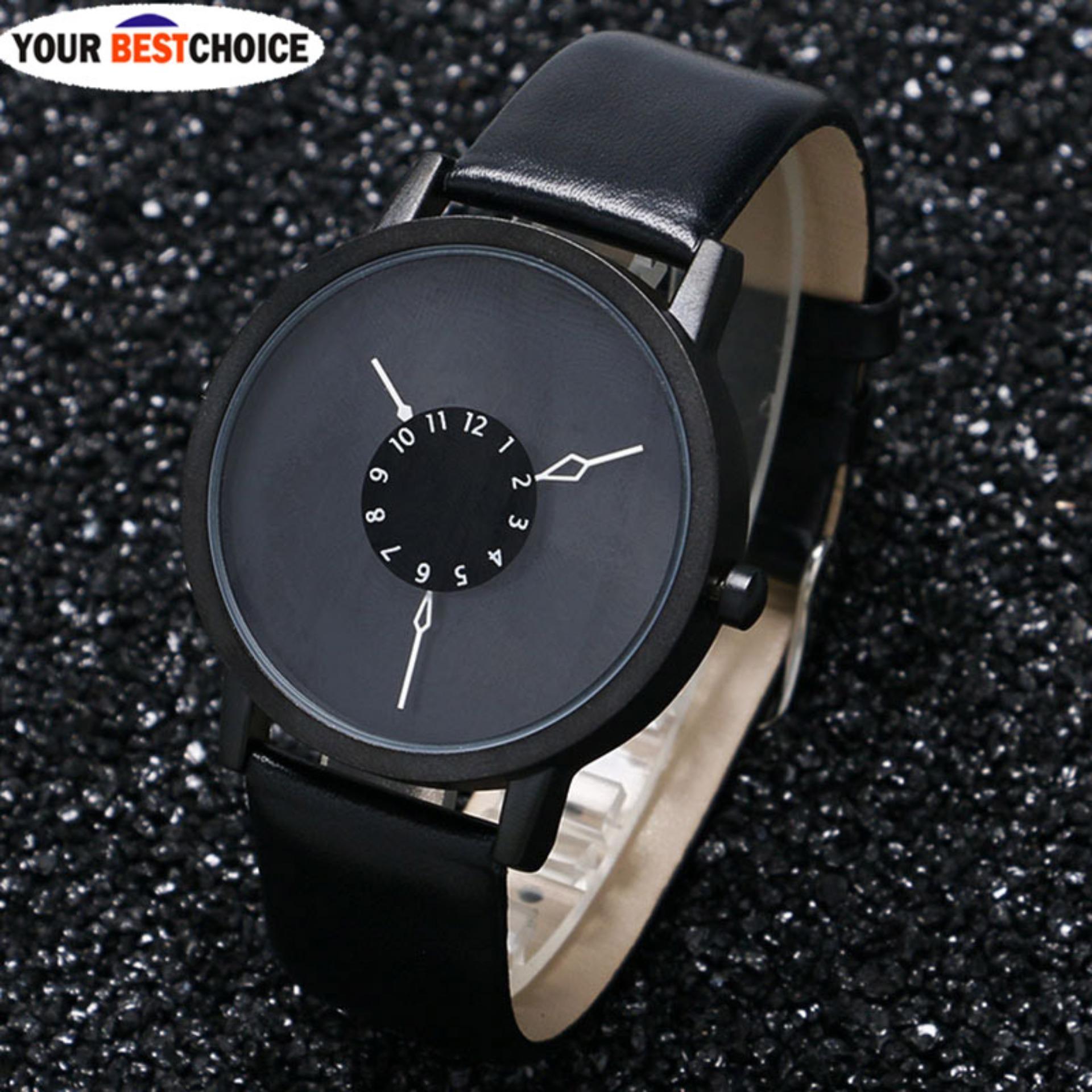 YBC adapula Dial arloji jam tangan kasual kulit PU pecinta jam Quartz - Internasional