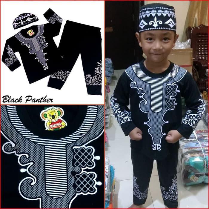 Baju Koko BLACK PANTHER Pakaian Muslim Anak Laki Premium Mewah Murah