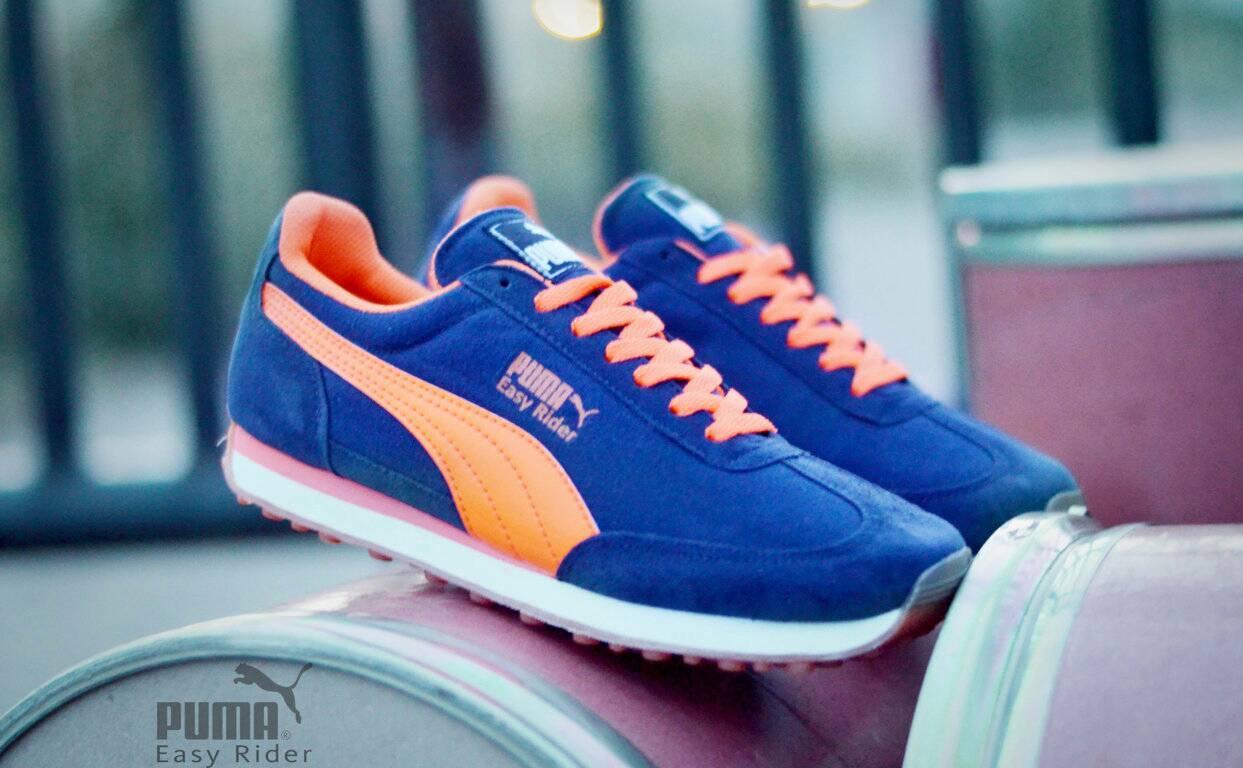 Sepatu Sport Pria Puma Easy Rider Biru List Orange Terlaris Di LAZADA