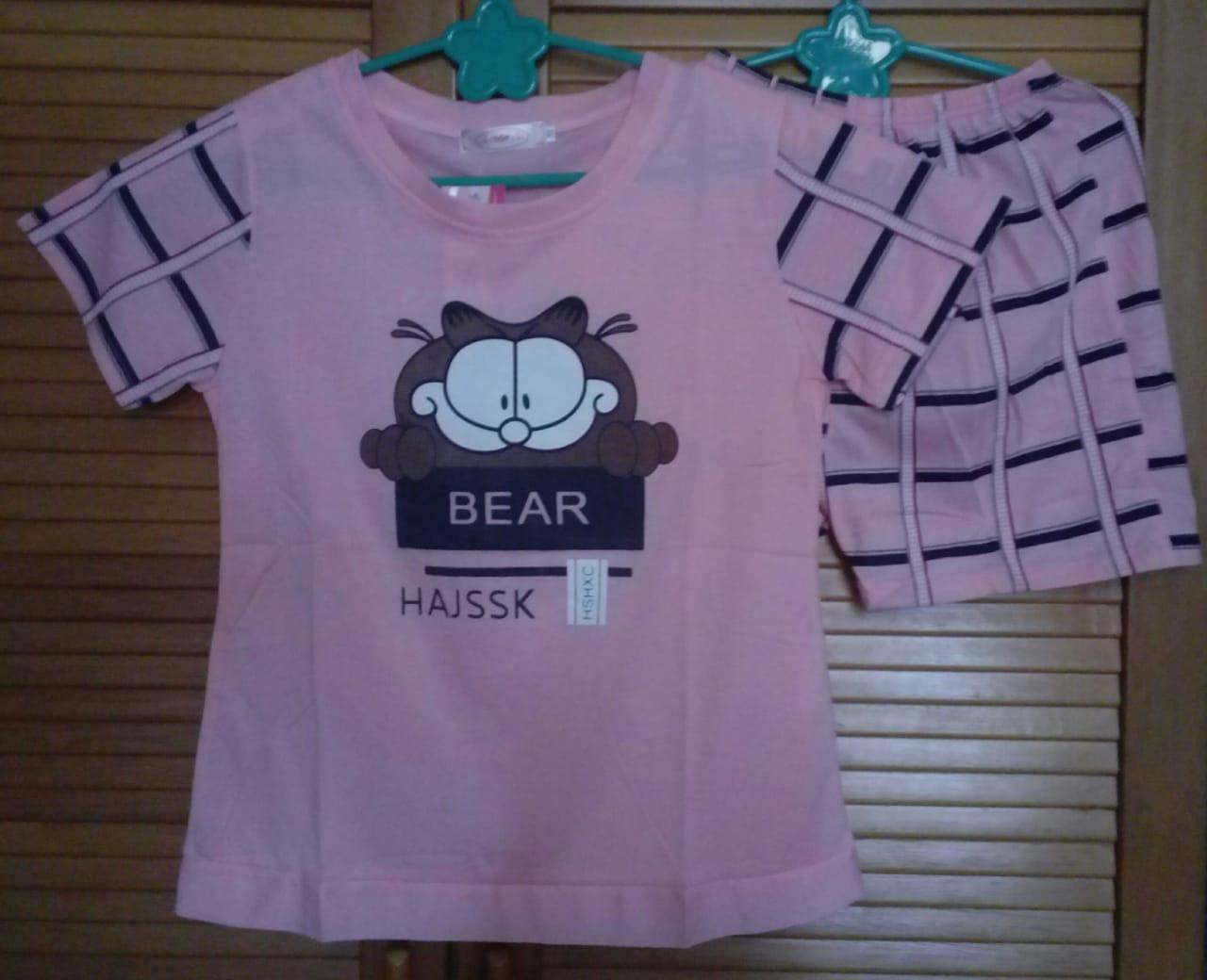 Cloth.88 Baju Tidur Piyama Wanita Setelan Kaos Celana Pendek Motif Bear