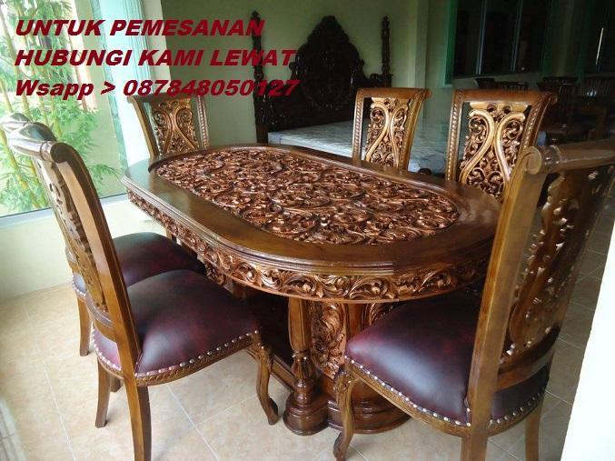 Meja Makan Rintik Oval 6-Kursi Ukir Kayu Jati Jika Berminat Hubungi Kami Lewat Wsapp_O87848050l27_Kami