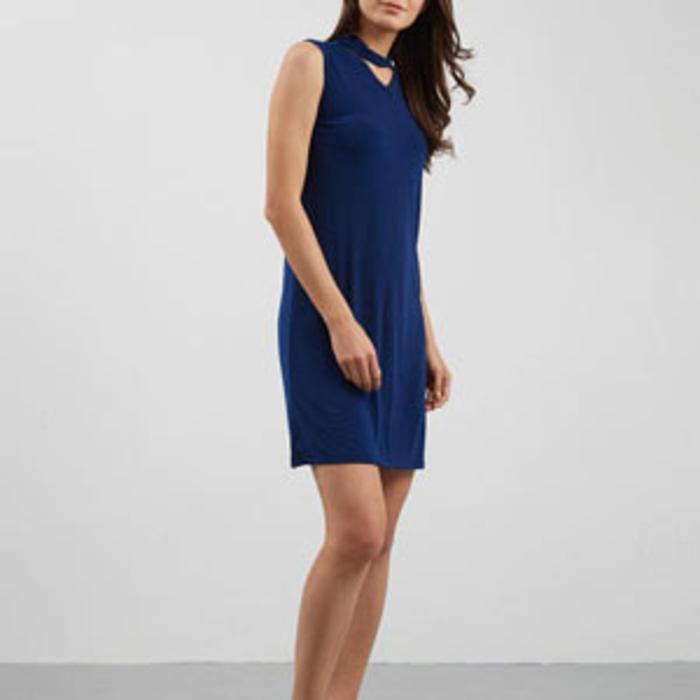 PROMO SAAT INI baju terusan wanita dress cewek aksen chocker biru tua navy - clo075 TERLARIS