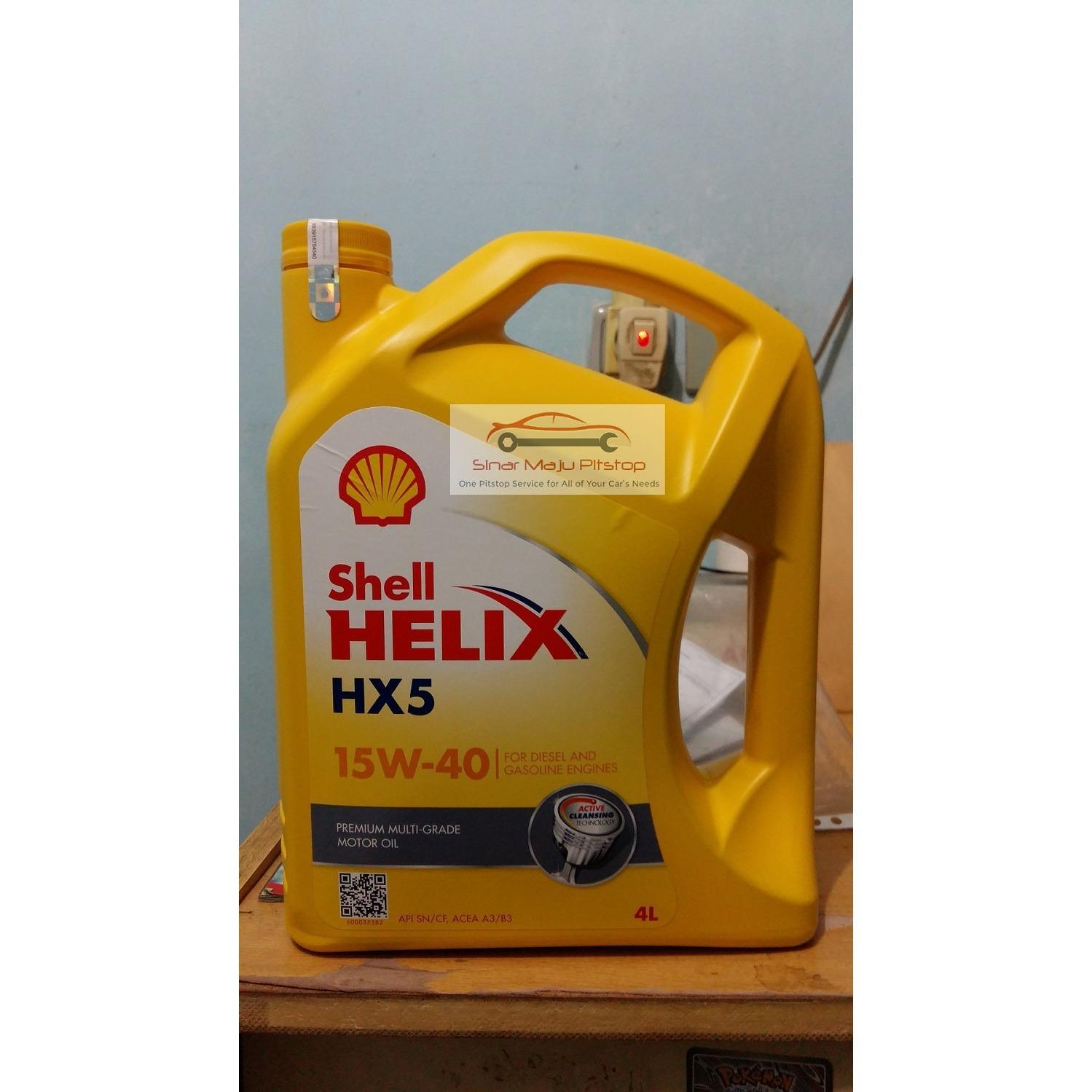 Shell Helix HX5 15W-40 API SN 4 Liter - Pelumas Oli Mesin Mobil Kemasan Baru Segel Hologram ORIGINAL - BISA DICEK KEASLIAN NYA DI WEBSITE AC SHELL COM