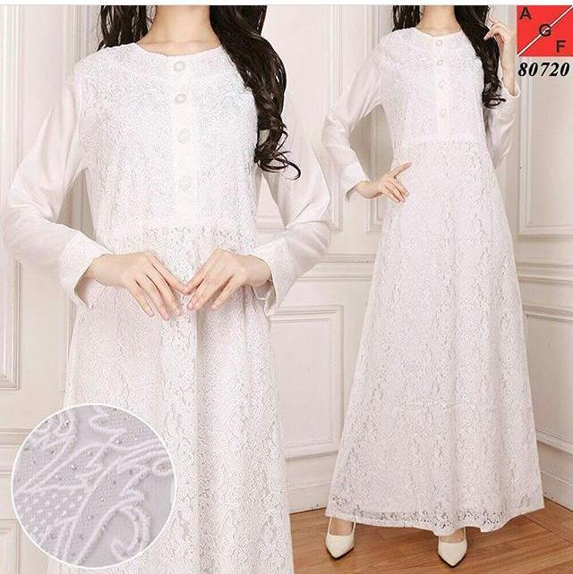 Gamis Putih Brokat Brukat Jumbo Kancing BW Untuk Haji / Umrah / Pesta