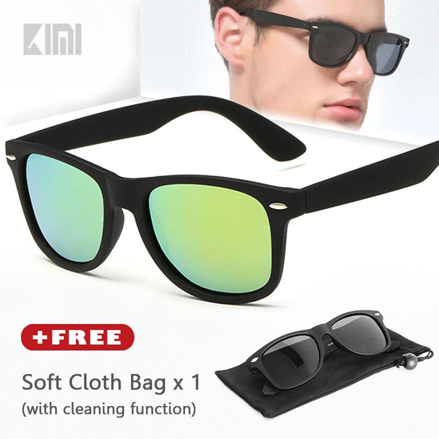 KIMI Kacamata Polarized Unisex Hitam WAYFARE Classic Wayframe Square Sunglasses Fashion Retro Style Strong Angular Frame Vintage Design Mirrored Lenses Driving Eyewear