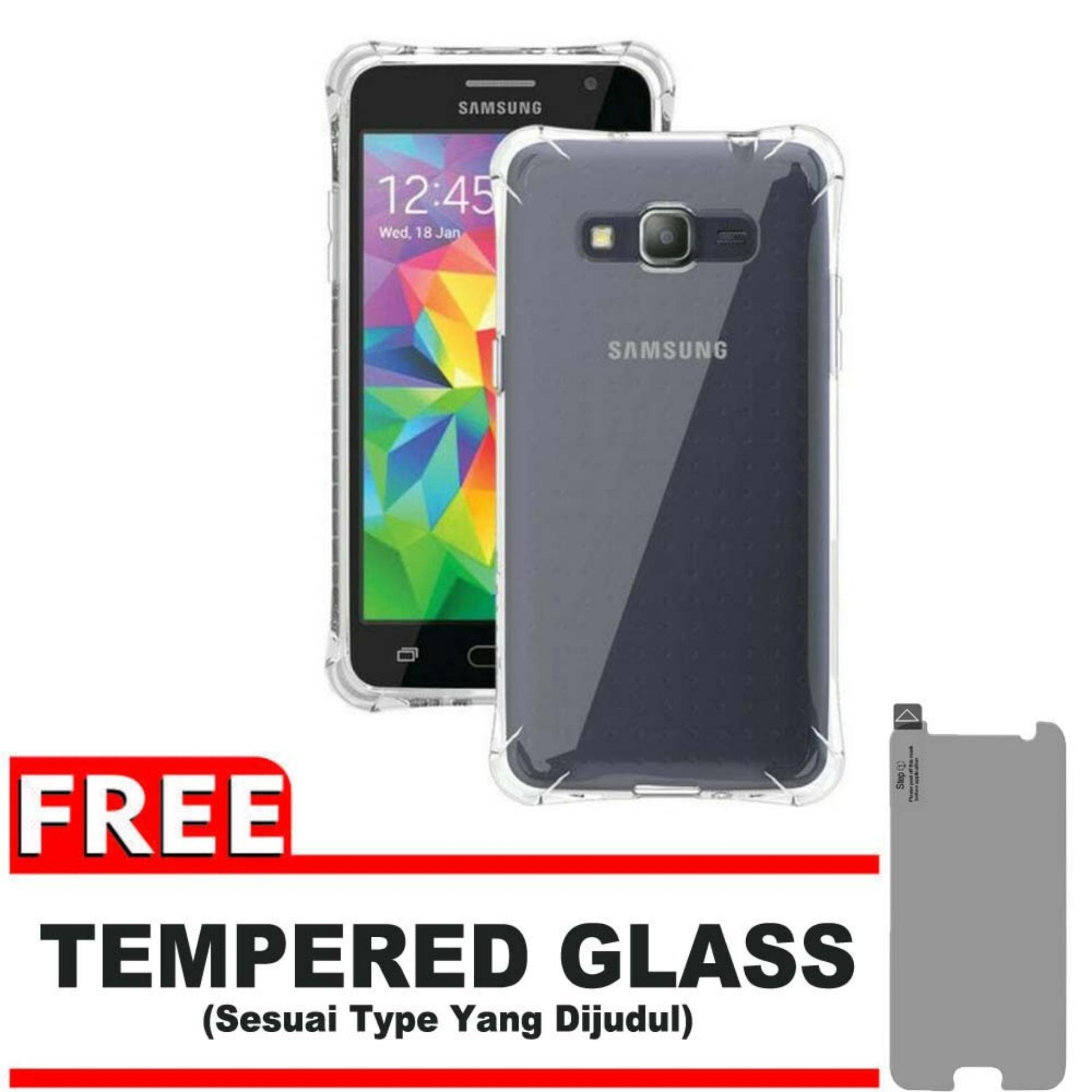 ShockCase for Samsung Galaxy Grand Prime / Plus / G530 / LTE / Duos   Premium Softcase Jelly Anti Crack Shockproof - Gratis Free Tempered Glass Protector - Transparan