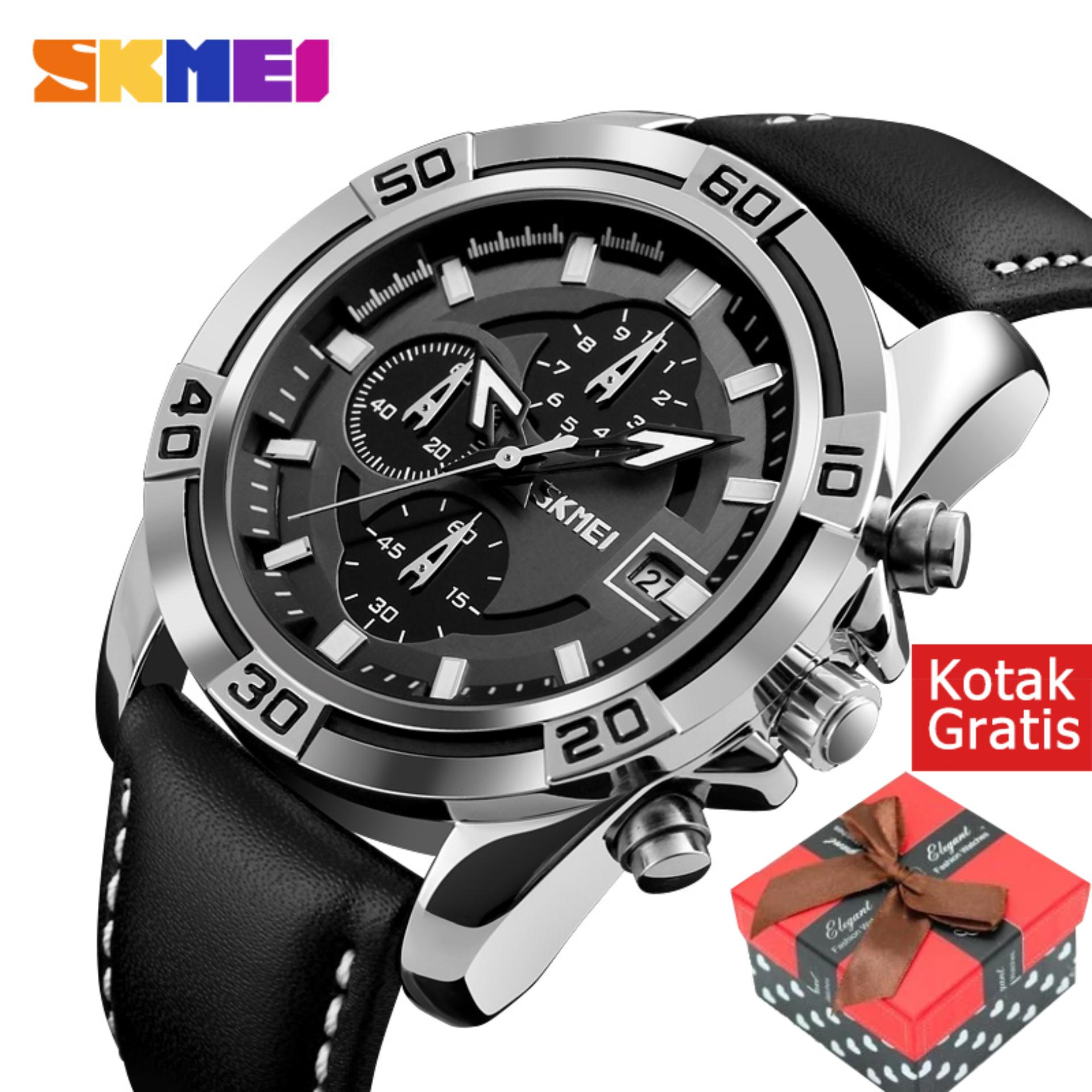 SKMEI 9156 Jam Tangan Men Sport Pria Quartz Watch Lembut Tali kulit Jam Tangan Chronograph Date Waterproof Meal Wristwatches 9156 - intl