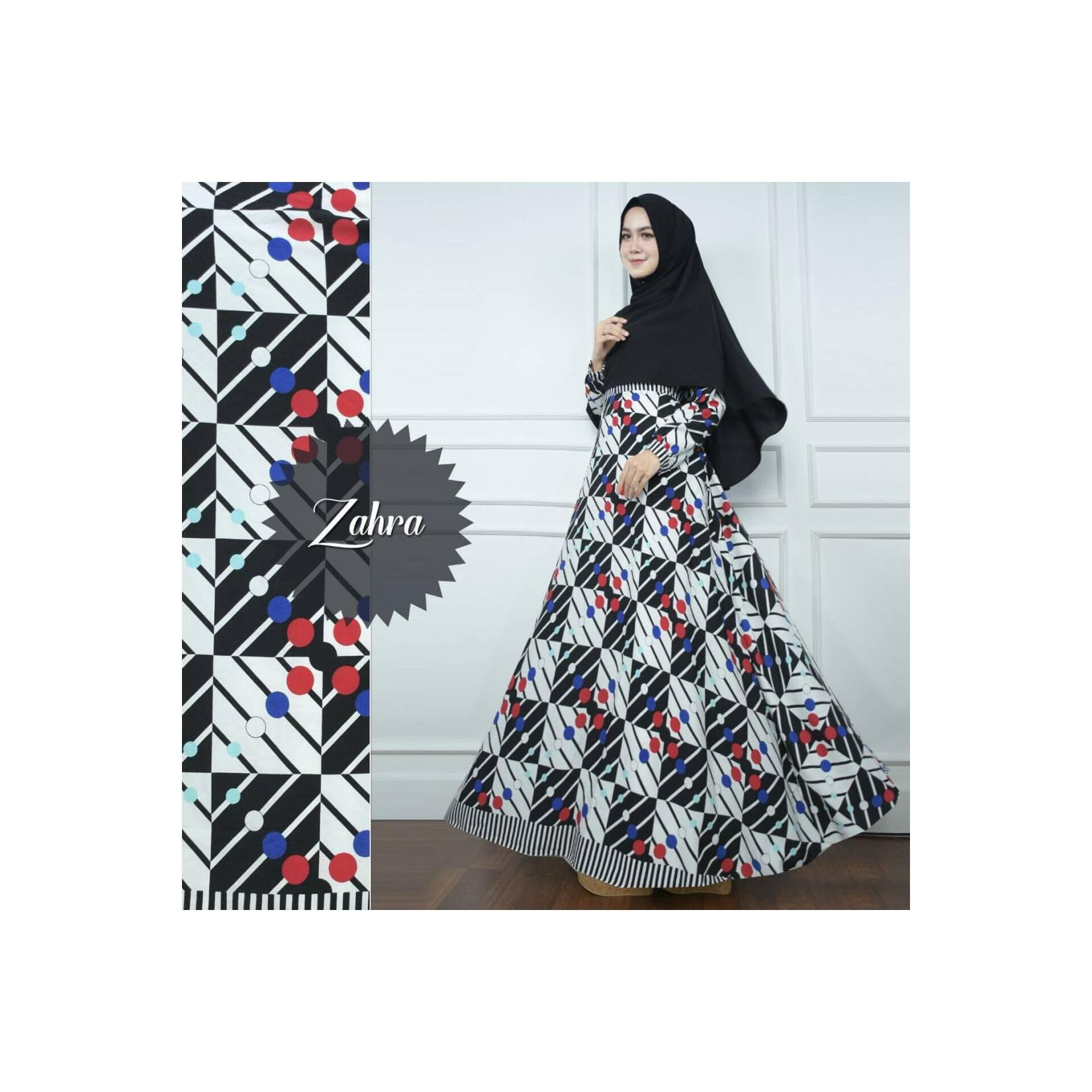 HITAM BLACK Gamis Set Zahra Kotak Polka Syari Baju Busana Muslimah