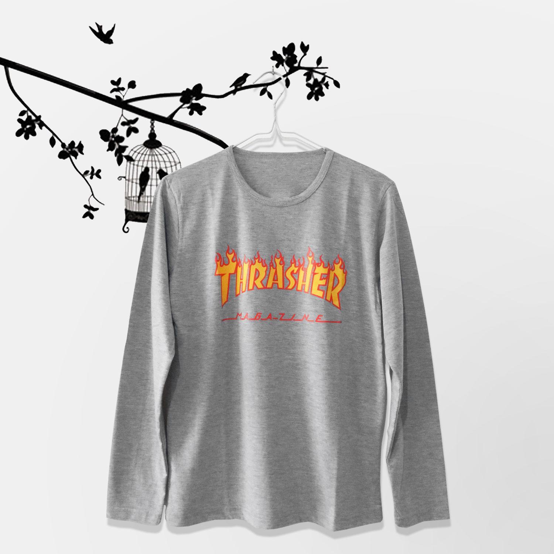 ELLIPSES.INC Tumblr Tee / T-Shirt / Kaos Wanita Thrasher - Abu Lengan Panjang
