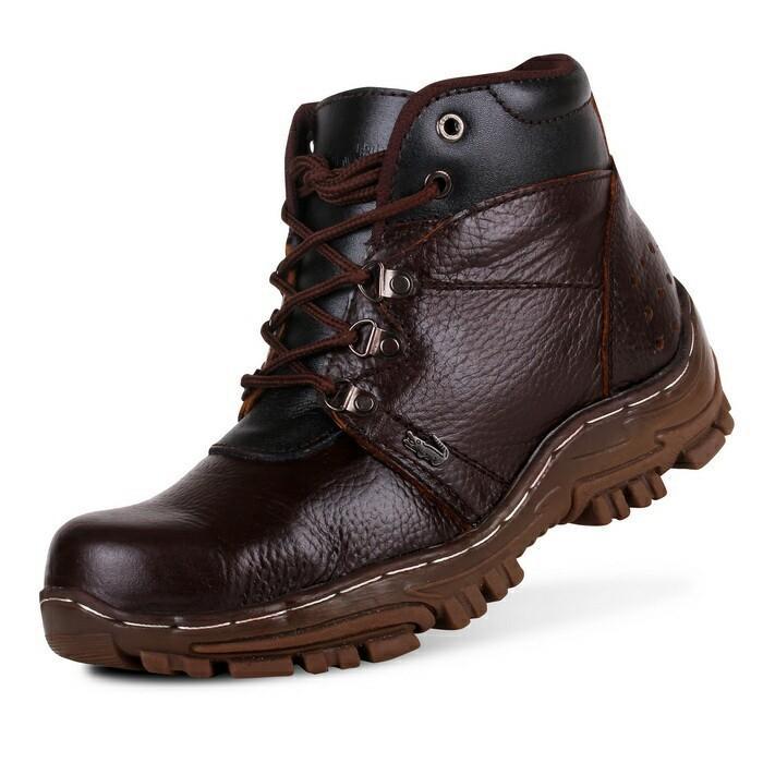 sepatu boots safety gunung hikking tracking kulit asli 100% sepatu pria