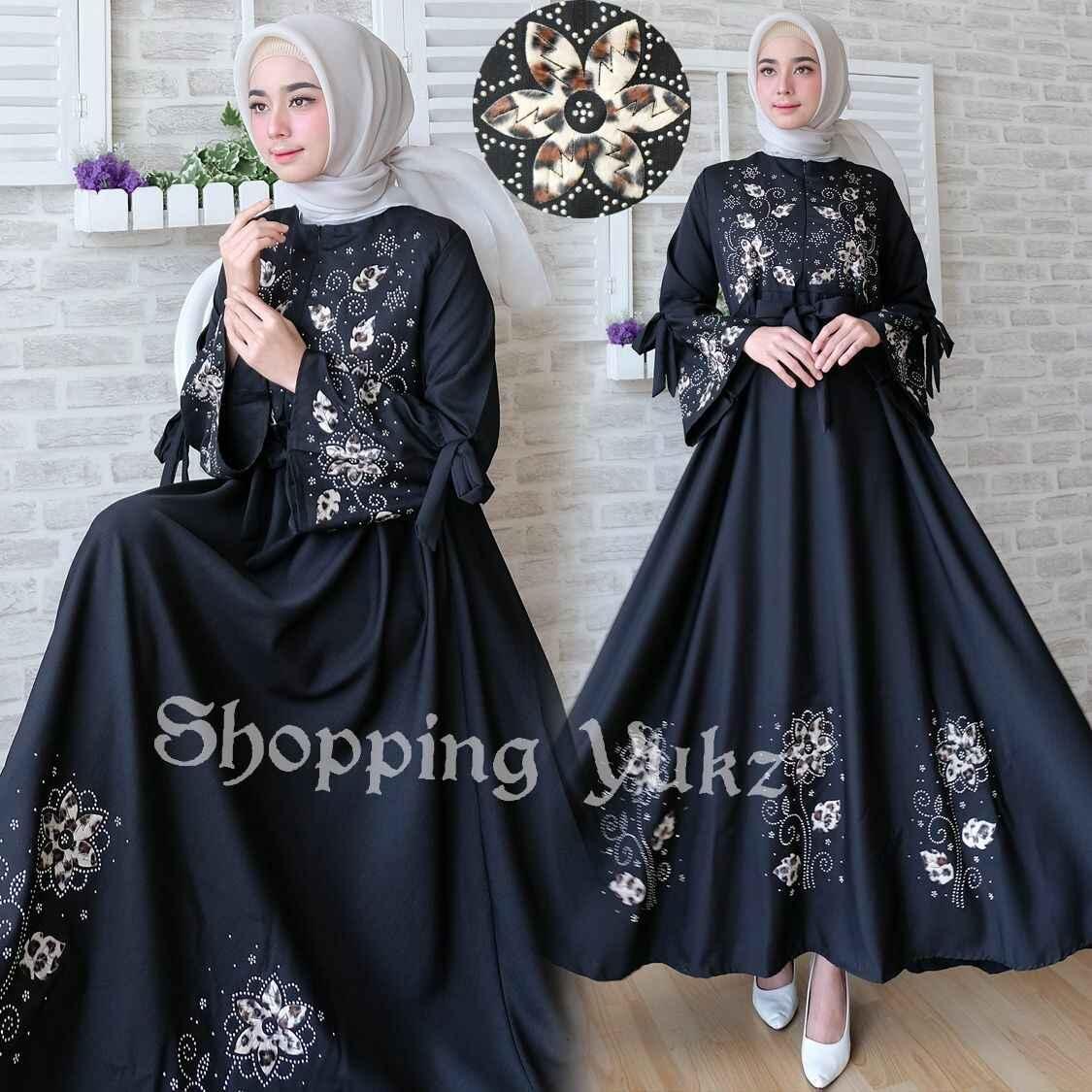 Shopping Yukz Baju Gamis Dress Muslim Syari Wanita MAXI FLOWER HITAM ( Tanpa Jilbab ) / Hijab Muslimah / Baju Muslimah Wanita / Syari Syari'i Muslim / Gaun Muslim / Long Dress Muslimah Wanita