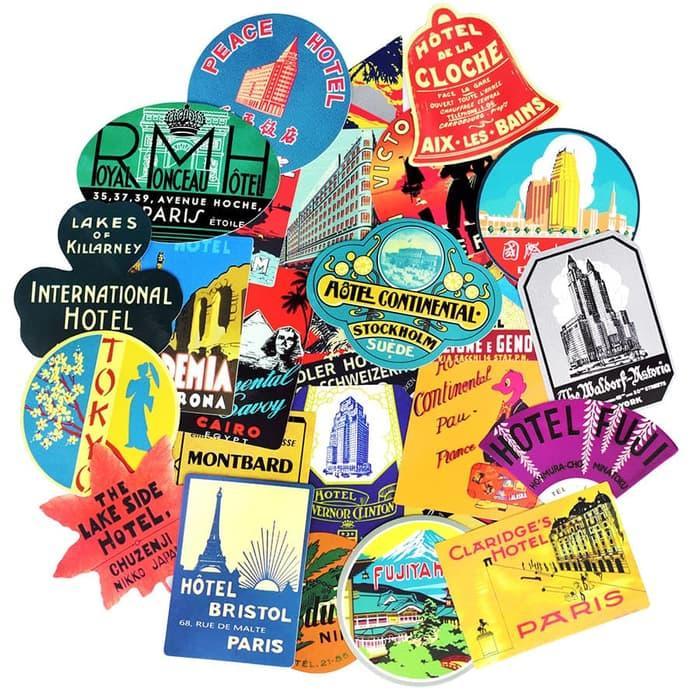 HOT SPESIAL!!! 55 Pcs Stiker Sticker Koper Laptop Rimowa Travel Retro Hotel