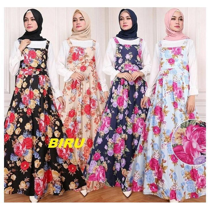 CGF Fashion - Baju Maxy Dress Muslim Wanita AshalinaBahan Katun Kembang + Wollycrepe