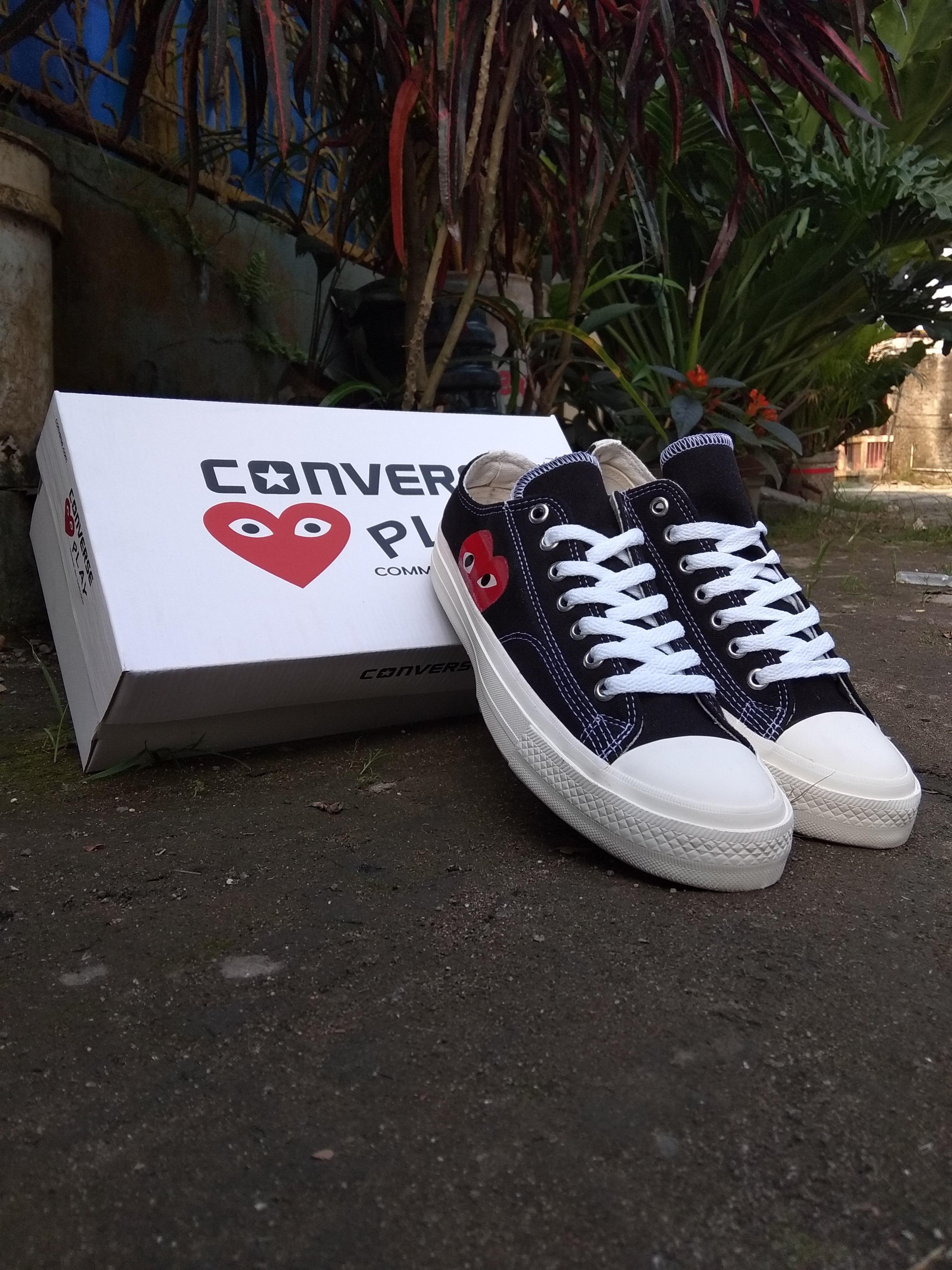 Sepatu Converse CDG Play Made In Vietnam Premium Black White Low