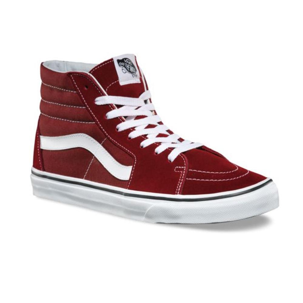 Zacksho Sepatu Casual Vans SK8 Maruun Hi Sneakers Pria dan Wanita