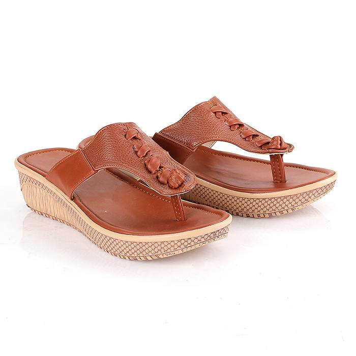 Blackkelly LAN 245 Sandal flat wanita - bahan Pu-pvc - sol tpr - 4cm murah dan berkualitas (tan)