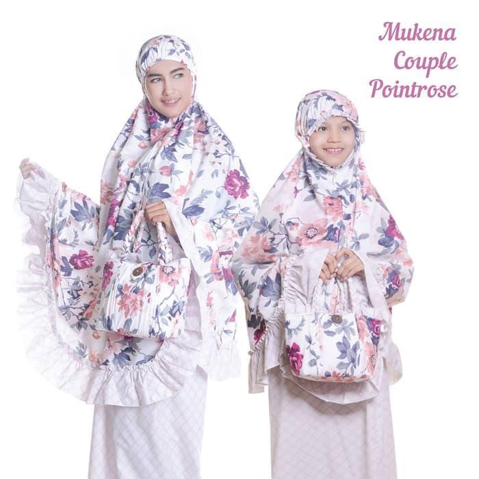 MUKENA COUPLE (IBU+ANAK) KATUN JEPANG BUNGA POINTROSE / perlengkapan ibadah / mukena murah / mukena terbaru / mukena elegan / mukena wanita terbaik
