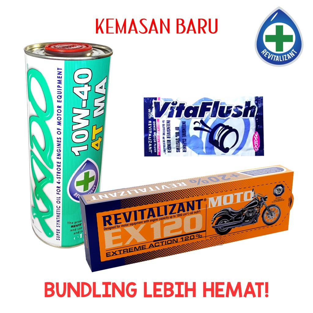 Bundling Xado Oil 4T MA + EX120 For moto + Vitaflush 20 ml